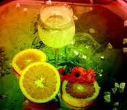 Drink. Multicolor drink with orange and flowers Royalty Free Stock Images