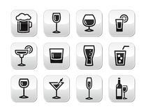 Drink alcohol beverage  buttons set Royalty Free Stock Image