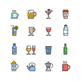 Drink Alcohol Beverage and Coffee Tea Icons. Vector Stock Photo