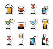Drink alcohol beverage icons set as labels. Beverages colourful icon set - vodka shot, beer, martini, whisky Stock Image