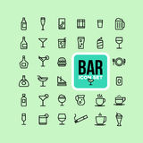Drink alcohol beverage icons set Stock Image