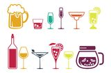 Drink alcohol beverage icons set Royalty Free Stock Image