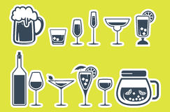 Drink alcohol beverage icons set Royalty Free Stock Photo