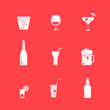 Drink alcohol beverage icons set Stock Photo