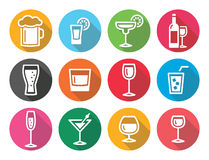 Drink alcohol beverage round flat design icons set Royalty Free Stock Photography