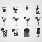 Drink and alcohol icon set. On gray background Royalty Free Stock Images