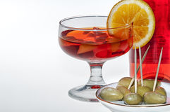 Drink alcohol and olives Royalty Free Stock Photography