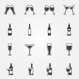 Drink alcohol vector icons Royalty Free Stock Photos