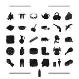 Drink, animal, parking and other web icon in black style. transport, cleaning icons in set collection. Stock Image