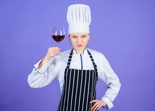 A drink as classy as red wine. Professional sommelier holding glass of wine drink. Pretty woman savouring blend and. Flavour of red wine drink. Adorable wine stock image