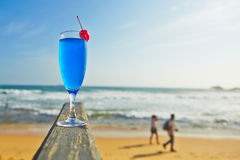 Drink on the beach. Blue lagoon drink on the beach, Sri Lanka Royalty Free Stock Photo