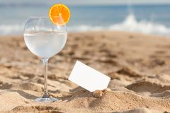 Drink on the bech Stock Images