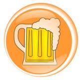Drink Beer. Orange circular symbol representing a beer mug Royalty Free Stock Photos