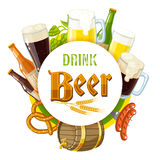'Drink beer' label with light and dark beer, mugs, bottles, hop cones, barley, beer keg, pretzel and sausages. Stock Image