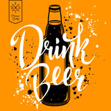 Drink beer. Retro vector illustration with bottle of beer Stock Image