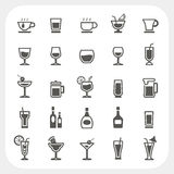 Drink and Beverage icons set Stock Photography