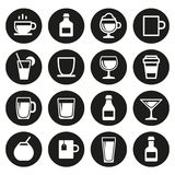 Drink and beverage icons set Royalty Free Stock Photo