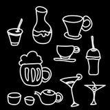 Drink & beverage icons set on black background Royalty Free Stock Photos