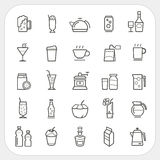 Drink and Beverage icons set Royalty Free Stock Photos