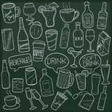 Drink and Beverages Traditional Doodle Icons Sketch Hand Made Design Vector. A emblematic elements and Tools Traditional Doodle Style Hand Drawn elements and Royalty Free Stock Photography