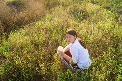 Drink Boba Tea in the grassland, sunset light stock photo