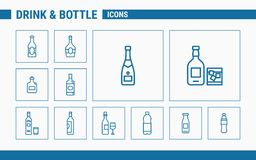 Drink & Bottle Icons - Set Web & Mobile 01 stock illustration
