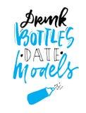 Drink bottles. Date models. Hand lettering for your design. Baby t-shirt quotes. Drink bottles. Date models. Hand lettering. Baby t-shirt quotes Stock Image