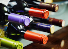 Bottles of wine in a winery Royalty Free Stock Photography