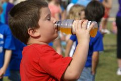 Drink Break. Young boy drinking a sports drink during a school field day Stock Images