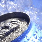 Drink can iced submerged in frost ice, metal aluminum beverage.  royalty free stock photography