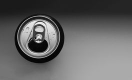 Drink can with water droplets. Refreshing drink in a can with water droplets Stock Photography