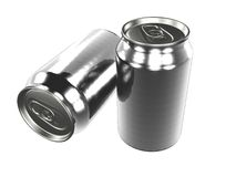 Drink Cans. Vertical and horizontal cans, bare metal Royalty Free Stock Photos