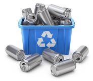 Drink cans in blue recycle crate royalty free illustration
