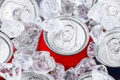 Drink cans in crushed ice Stock Images