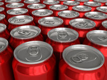 Drink cans. Red drink cans (depth of field Stock Photos