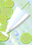 Drink card background with a glass, lime slices and water drops. Delicious cold fruit drinks, refreshing in the summer heat. Fresh Stock Images