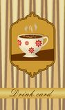 Drink card with coffee cup in nostalgic style Royalty Free Stock Photos