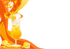 Drink card with ice and oranges Royalty Free Stock Image