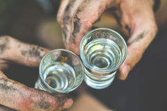 Drink. Cheers whit traditional drink Rakia Stock Images