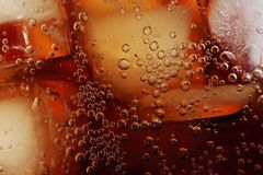 Drink closeup. Cola with ice close-up stock images