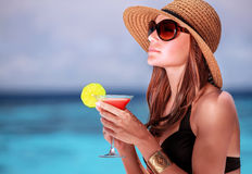 Drink cocktail on the beach Stock Photo