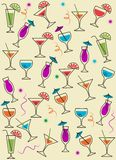 Drink or cocktail collection background stock illustration
