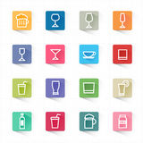 Drink Cocktail Flat Icons Set And White Background Stock Images