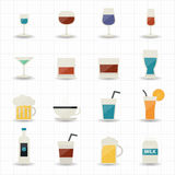 Drink and cocktail icons. This image is a vector illustration Stock Image