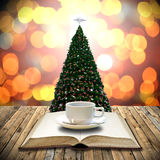 Drink coffee with bible in Christmas day Royalty Free Stock Images