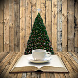 Drink coffee and read bible. In Christmas day royalty free stock photo
