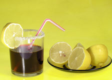 Drink cola and lemons Royalty Free Stock Images