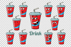 Drink Cola tube emotions characters collection set. Isolated neutral background. Retro comic book style cartoon pop art vector illustration royalty free illustration