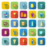 Drink color icons with long shadow Royalty Free Stock Photo