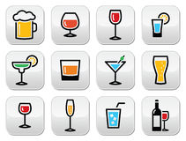 Drink colorful alcohol beverage buttons set Stock Photography
